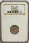 Bust Dimes, 1821 10C Large Date AU58 NGC. NGC Census: (29/95). PCGS Population (19/66). Mintage: 1,186,512. Numismedia Wsl. Price for N...