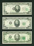 Error Notes:Error Group Lots, Fr. 2060-B $20 1950A Federal Reserve Note. Fine-Very Fine.. Fr.2060-D $20 1950A Federal Reserve Note. Extremely Fine.. Fr. 20...(Total: 3 notes)
