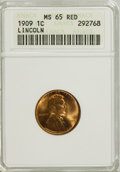 Lincoln Cents: , 1909 1C MS65 Red ANACS. NGC Census: (338/168). PCGS Population (843/497). Mintage: 72,702,616. Numismedia Wsl. Price for NG...