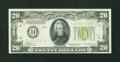 Error Notes:Miscellaneous Errors, Fr. 2054-D $20 1934 Light Green Seal Federal Reserve Note. Extremely Fine-About Uncirculated.. ...