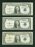 Error Notes:Error Group Lots, Fr. 1614 $1 1935E Silver Certificates. Three Examples. Fine andBetter.. ... (Total: 3 notes)