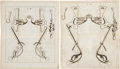 Antiques:Posters & Prints, Group of Five Double Page Copper Plate Engraved Illustrations ofHorse Bridles Circa 1678.... (Total: 5 Items)