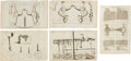 Antiques:Posters & Prints, Group of Five Copper Plate Engraved Illustrations of Bridles, Bits,and Other Horse Related Equipment Circa 1678.... (Total: 5 Items)