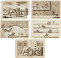 Antiques:Posters & Prints, Group of Five Engraved Dressage Prints Circa 1678. Plate mark 11.25inches x 7.5 inches, overall size 13 inches x 8.25 inche... (Total:5 Items)