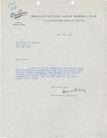 Autographs:Letters, 1949 Branch Rickey Signed Typed Letter. ...