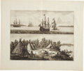 Antiques:Posters & Prints, Cornelis de Bruin. Excellent Double-page Copper Engraving withViews of Sailing Ships on the river Archangel and Samoyed Tents...