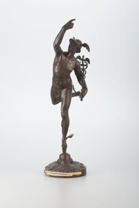 A BRONZE FIGURE OF MERCURY After the original model by Giambologna, 20th Century 22-1/2 inches (57.2 cm) high