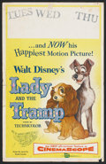 "Movie Posters:Animated, Lady and the Tramp (Buena Vista, 1955). Window Card (14"" X 21"").Animated.. ..."