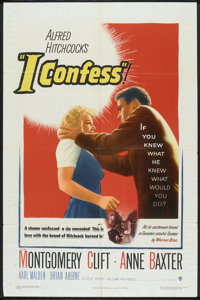 "I Confess (Warner Brothers, 1953). One Sheet (27"" X 41""). Hitchcock"