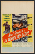"Movie Posters:War, In Which We Serve (United Artists, 1943). Window Card (14"" X 22"").War.. ..."
