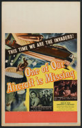 "Movie Posters:War, One of Our Aircraft Is Missing (United Artists, 1942). Window Card(14"" X 22""). War.. ..."
