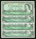 Canadian Currency: , Mixed Lot of Canadian $1 Notes, Including an Asterisk Note. ...(Total: 4 notes)
