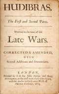 Books:Early Printing, Samuel Butler. Hudibras. The First and Second Parts. Written inthe time of the Late Wars. Corrected & Amended, With Sev...