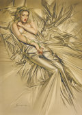 Pin-up and Glamour Art, HAJIME SORAYAMA (Japanese, b. 1947). Satin Sheets.Watercolor on paper. 28 x 20 in.. Signed lower left. ...