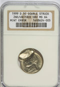 Errors, 1999-D 5C Jefferson Nickel Double Struck 2nd/Uniface Obverse MS64NGC. ...