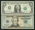 """Small Size:Group Lots, A Pair of """"Super Repeater"""" Matching Serial Number Notes. Gem Crisp Uncirculated.. ... (Total: 2 notes)"""