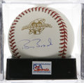 Autographs:Baseballs, Barry Bonds Single Signed Baseball, PSA Mint 9. Signed on anofficial orb from the 2002 World Series that he guided his team...
