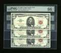 Small Size:Legal Tender Notes, Fr. 1536 Cut Sheet of $5 1963 Legal Tender Notes. PMG Gem Uncirculated 66 EPQ.. ... (Total: 6)