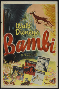 "Bambi (RKO, R-1948). One Sheet (27"" X 41""). Animated. Starring Bobby Stewart, Donnie Dunagan, Hardie Albright..."