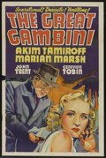 "Movie Posters:Mystery, The Great Gambini (Paramount, 1937). Other Company One Sheet (27"" X41""). Mystery. Starring Akim Tamiroff, Marian Marsh, Reg..."