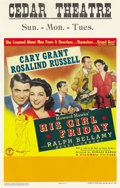 """Movie Posters:Comedy, His Girl Friday (Columbia, 1940). Window Card (14"""" X 22""""). ..."""