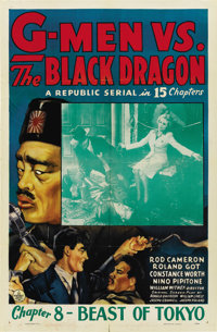 "G-Men vs. the Black Dragon (Republic, 1943). One Sheet (27"" X 41"") Chapter 8 -- ""Beast of Tokyo.""..."