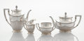 Silver Holloware, Continental:Holloware, A GERMAN FOUR-PIECE SILVER TEA SERVICE. Koch & Bergfeld,Bremen, Germany, circa 1900. Marks: (goblet), 800 (crescent)(c... (Total: 4 Items)