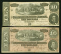"""Confederate Notes:1864 Issues, T68 $10 1864. Two Examples, Including a Weak Right """"G"""" Example.. ... (Total: 2 notes)"""