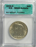 1936-S 50C Bay Bridge--Cleaned--ICG. MS60 Details. NGC Census: (1/3083). PCGS Population (21/5037). Mintage: 71,424. Num...