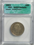 Coins of Hawaii: , 1883 25C Hawaii Quarter--Scratched--ICG. AU53 Details. NGC Census:(12/754). PCGS Population (38/1190). Mintage: 500,000. ...