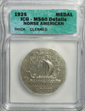 Commemorative Silver, 1925 Medal Norse Thick Planchet--Cleaned--ICG. MS60 Details. PCGS Population (2/600). (#9450)...