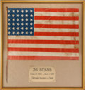 Antiques:Textiles, United States Thirty-six Star Flag....