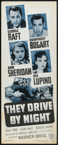 """Movie Posters:Drama, They Drive by Night (Warner Brothers, R-1948). Insert (14"""" X 36""""). Drama.. ..."""