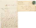 "Autographs:Military Figures, Braxton Bragg Autograph Letter Signed to Senator Samuel B. Maxey ofTexas. Three pages, 5"" x 8"", April 5, 1875, Galveston [T... (Total:2 Items)"