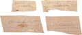 Autographs:Statesmen, Four Signatures on Birch Bark: James Whitcomb Riley (2), FrederickD. Grant, and Charles E. Hughes. Two are dated July 17, 1...(Total: 4 Items)