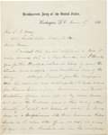 """Autographs:Military Figures, William T. Sherman Autograph Letter Twice Signed (""""W. T. Sherman/ General"""" and """"W. T. S."""") to Senator ... (Total: 2 Items)"""