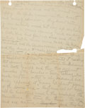 """Autographs:Military Figures, [White Bull] Native American Creation Story Manuscript in Pencil, commencing with """"In the beginning all the Indians lived ..."""