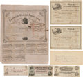 Miscellaneous:Ephemera, Confederate Currency: Three Bond Certificates, Two Notes, and OneTreasury Warrant. All are dated, signed, and numbered. Som...(Total: 7 Items)