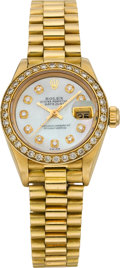 Timepieces:Wristwatch, Rolex Lady's President Gold & Diamond Wristwatch, circa 1985....