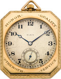 Timepieces:Pocket (post 1900), Elgin Gold & Enamel Rectangular Presentation Pocket Watch,circa 1915. ...