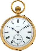 Timepieces:Pocket (pre 1900) , English High Grade Gold Lever Pocket Watch, circa 1880. ...