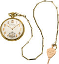 Timepieces:Pocket (post 1900), Patek Philippe Gent's Gold & Enamel Pocket Watch with Chain,circa 1925. ...