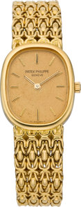 Timepieces:Wristwatch, Patek Philippe Ref. 4764/1 Lady's Gold Wristwatch, circa 1985. ...