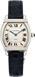 Timepieces:Wristwatch, Cartier Platinum Mecanique Tortue Wristwatch, circa 2000. ...