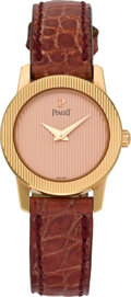 Timepieces:Wristwatch, Piaget Lady's Rose Gold Protocol Wristwatch, circa 1995. ...