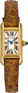 Timepieces:Wristwatch, Cartier Lady's Mini Gold Tank Wristwatch, circa 1990's. ...