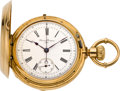 Timepieces:Wristwatch, Edouard Perregaux 18k Gold Chronograph Pocket Watch, circa 1885....