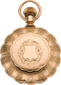 Timepieces:Pocket (pre 1900) , Elgin Fancy Dial 18 Size Gold Scalloped Edge Pocket Watch, circa1888. . ...