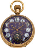 "Timepieces:Pocket (pre 1900) , Swiss Fancy Dial Gold ""Eclipse"" Moon Phase Calendar, circa 1895...."