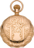 Timepieces:Pocket (pre 1900) , Waltham Rose Gold 18 Size Scallop Edge Pocket Watch, circa 1891....